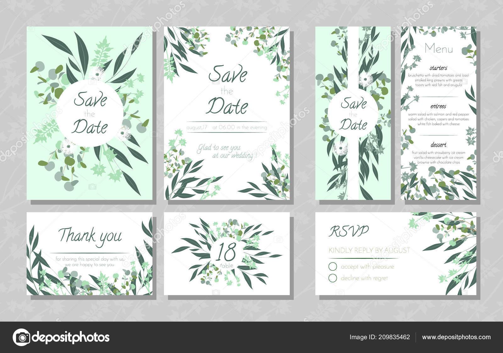 Hochzeitskarten Mit Eukalyptus Stockvektor C Ingara 209835462