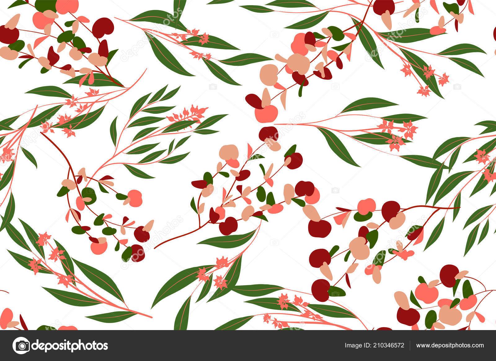 Otoño de patrones sin fisuras con hojas de eucalipto. Follaje de ...