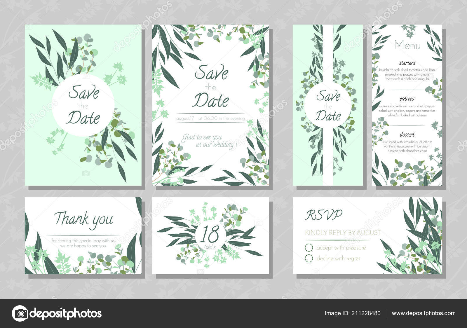 Hochzeitskarten Mit Eukalyptus Stockvektor C Ingara 211228480