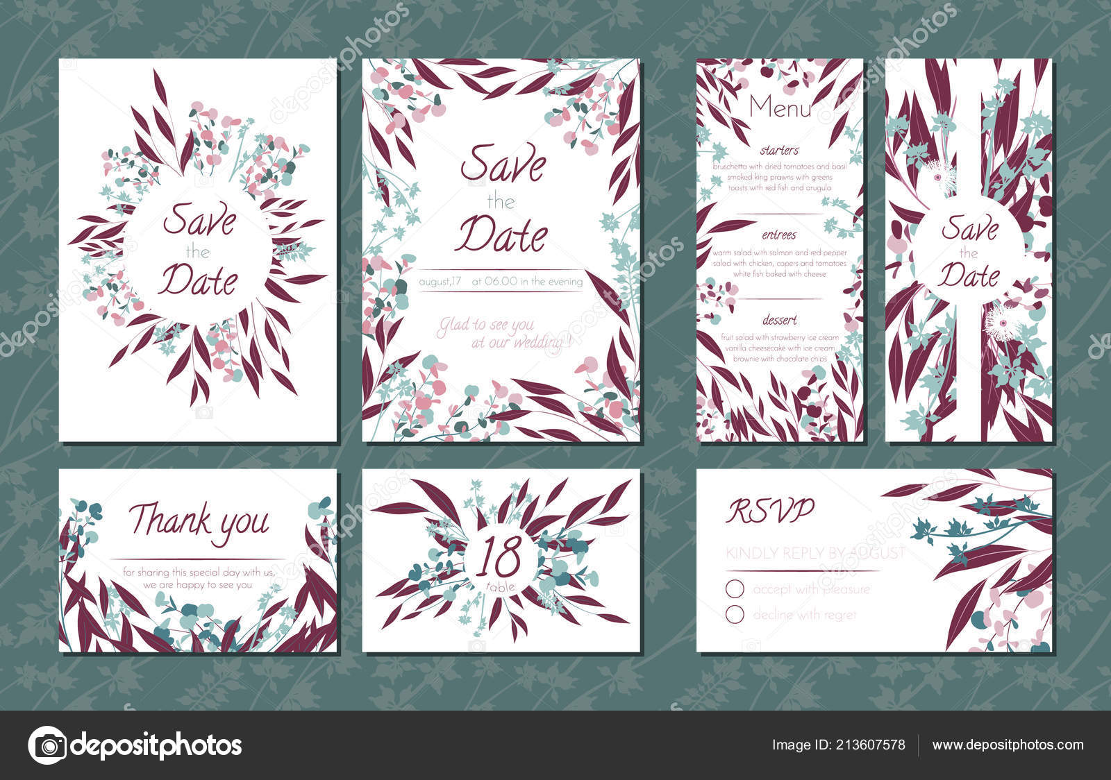 Floral Vintage Cards Set for Wedding. Invitation Templates, Rsvp, Menu Templates  with Eucalyptus Leaves in Watercolor Style. Rustic Greenery Design for  Brochure, Booklet. Floral Vintage Illustration. — Stock Vector © ingara  #213607578