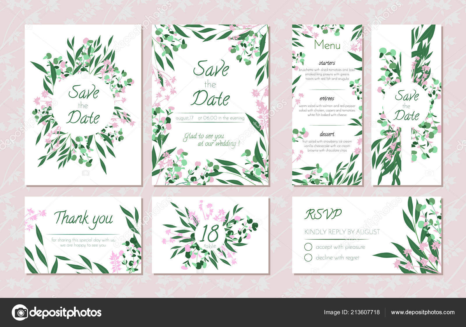 Wedding Card Templates Set With Eucalyptus Decorative Frames Leaves Floral And Herbs Garland: Eucalytus Garland Wedding Place Card Templates At Websimilar.org