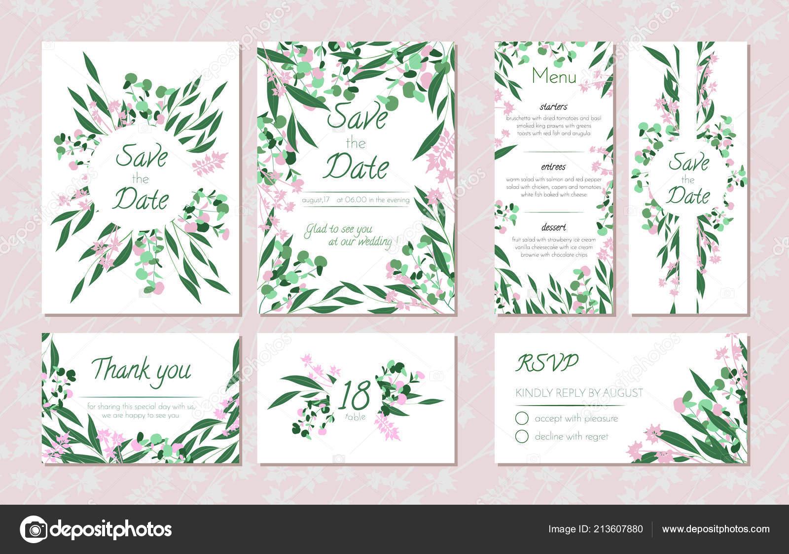 Hochzeit Kartenvorlagen Set Mit Eukalyptus Dekorativen Rahmen Mit