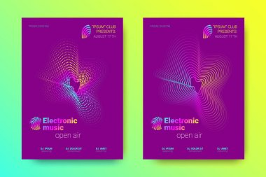 Music Posters Set with Wave Lines and Distortion.