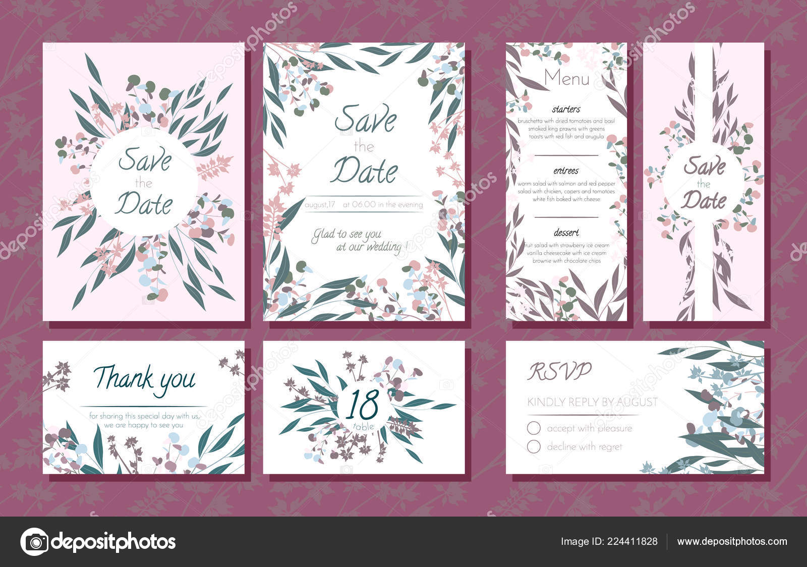 Hochzeit Kartenvorlagen Set Mit Eukalyptus Zweig Dekorativen Rahmen