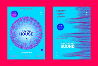 Wave Music Poster Concept. Electronic Sound Flyer.