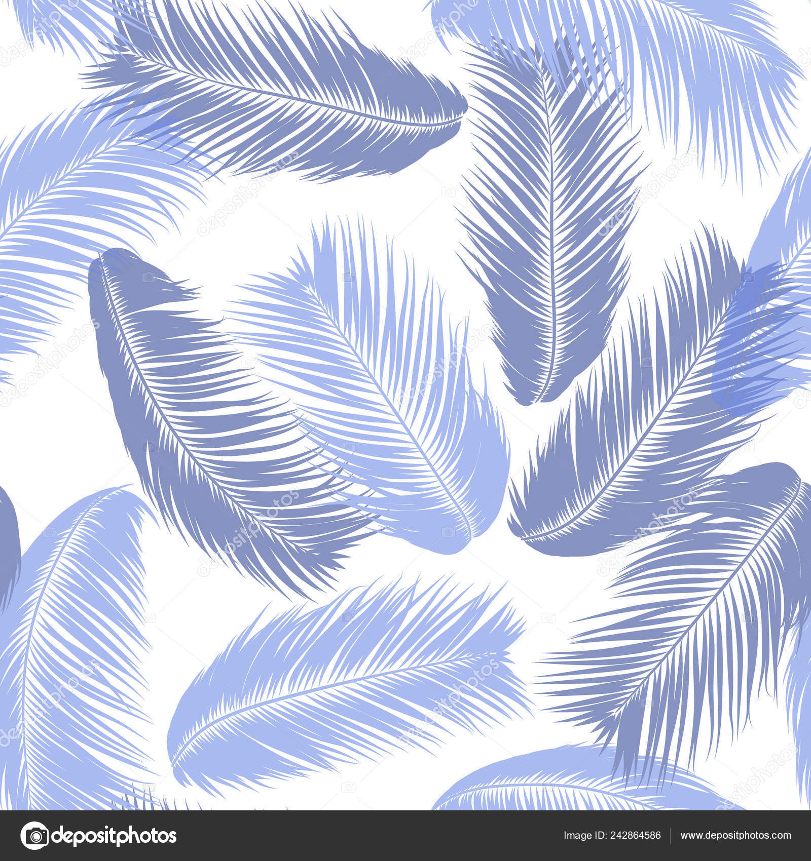 Blue Tropical Palm Tree Leaves Vector Seamless Pattern Simple Silhouette Coconut Leaf Sketch Summer Floral Background Wallpaper Of Exotic Palm Tree Leaves For Textile Fabric Cloth Design Print Vector Image By C