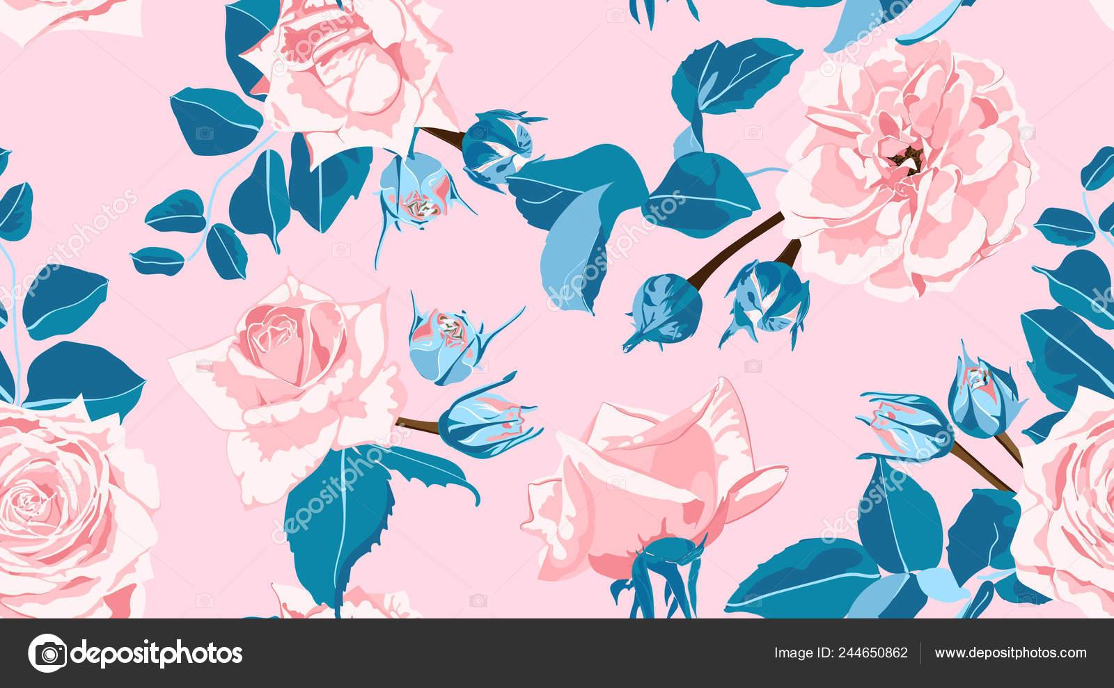 Pastel Floral Pattern Vintage Pink Roses Watercolor Style Wedding
