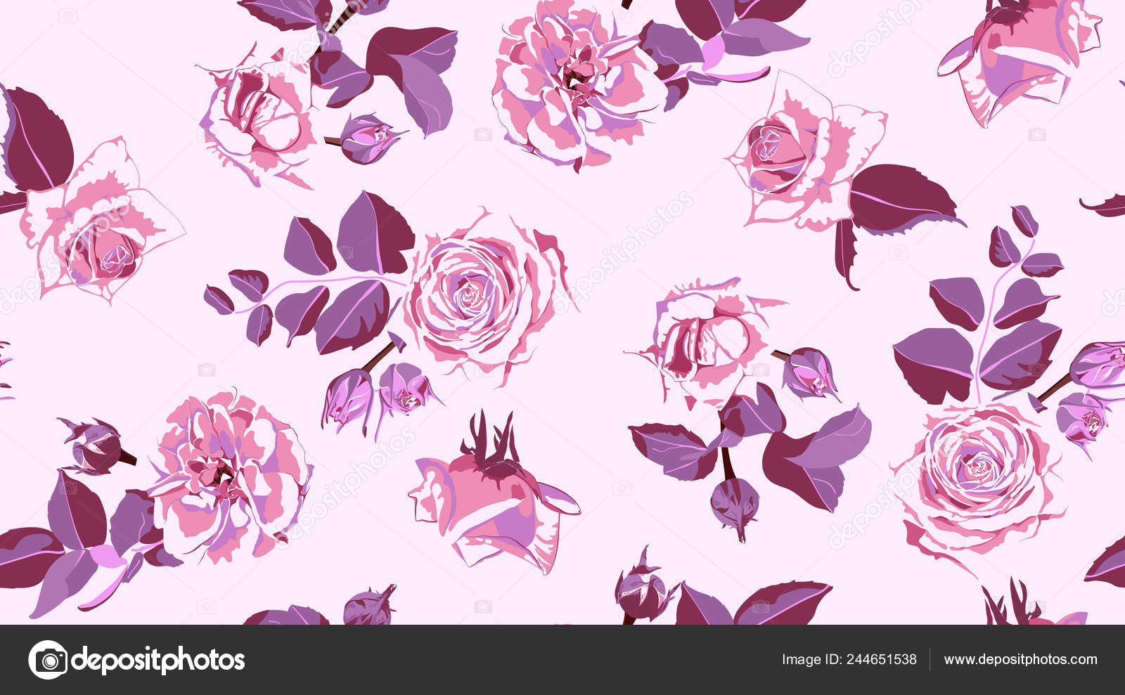 Seamless Rose Pattern Rustic Floral Background Stock Vector