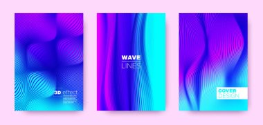Fluid Stripe Poster. Purple Abstract Covers Set.