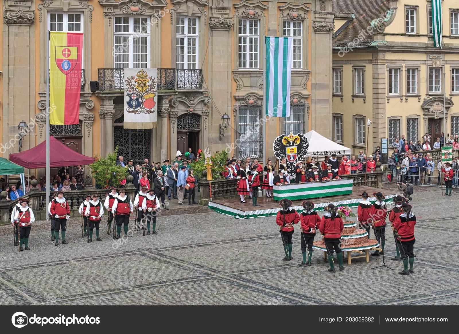 Schwabisch Hall Deutschland Mai 2018 Historische Ausstellung Vor Dem