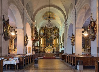 LINZ, AUSTRIA - DECEMBER 10, 2017: Interior of Stadtpfarrkirche (City Parish Church of the Assumption of the Virgin Mary). The church was founded in 1207. The present Baroque interior is from the 17th century.