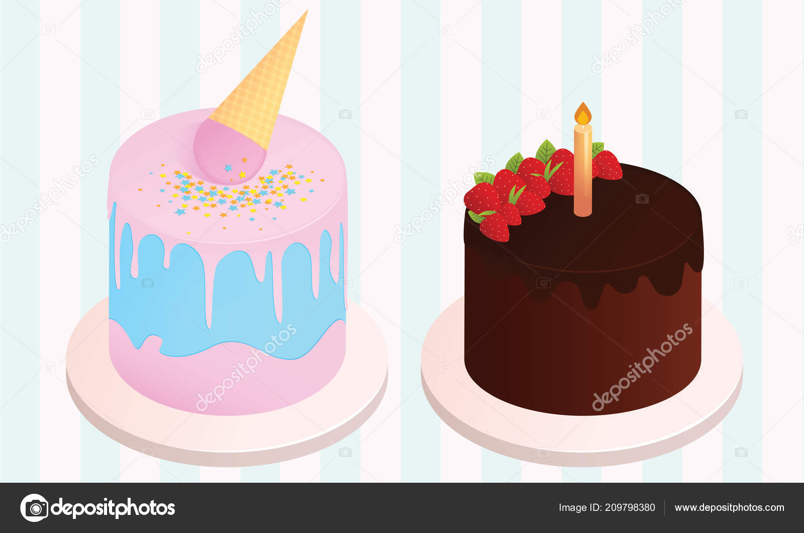 Set Birthday Cakes Party Elements Vector Illustration Different Types Stock