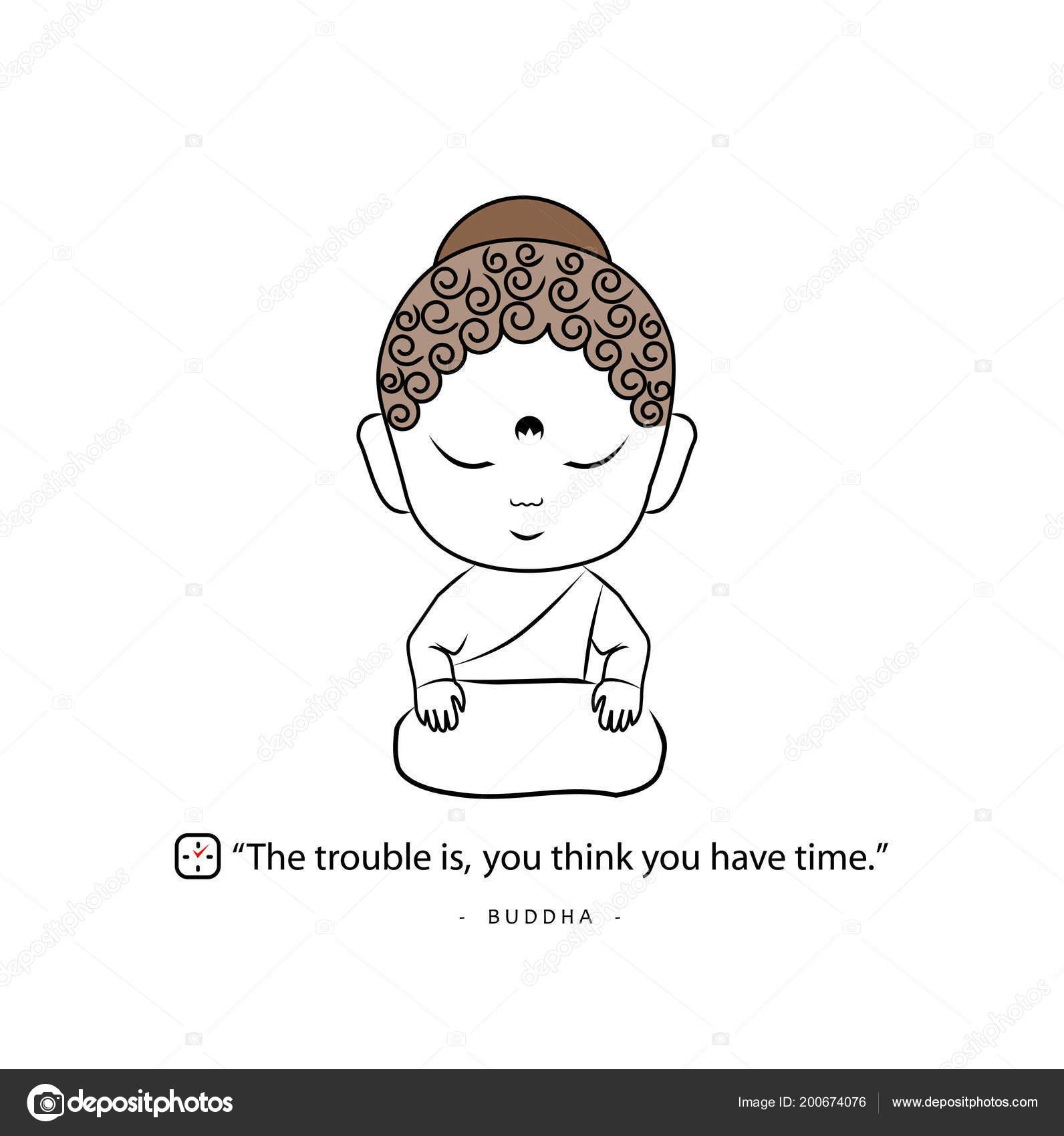 Pequeño Buda Frase Motivacional Vector De Stock Shawlin