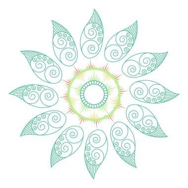 Decorative green leaf Mandala