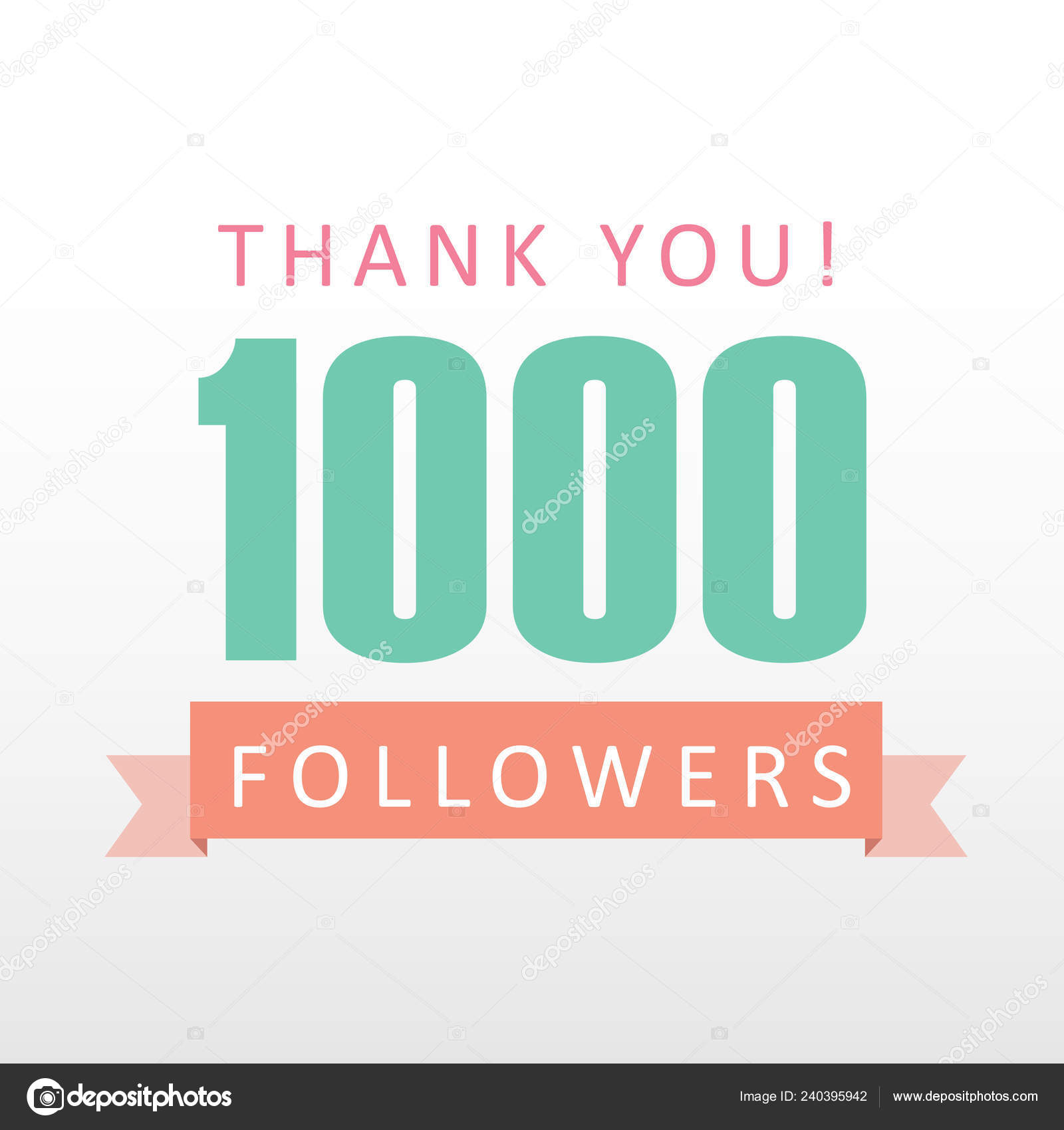 1000 Followers Thank You Number Banner Social Media Gratitude Stock Vector C Shawlin 240395942