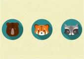 Roztomilá zvířata ploché dlouhé sady ikon kruh stínu. Medvěd, panda červená a mýval ploché ilustrace