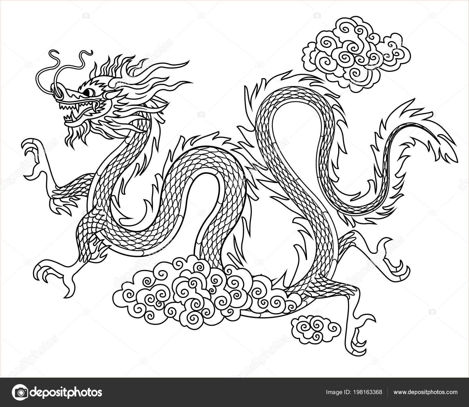 Dragón Chino Estilo Plano Lineal Dibujo Para Colorear Libro ...