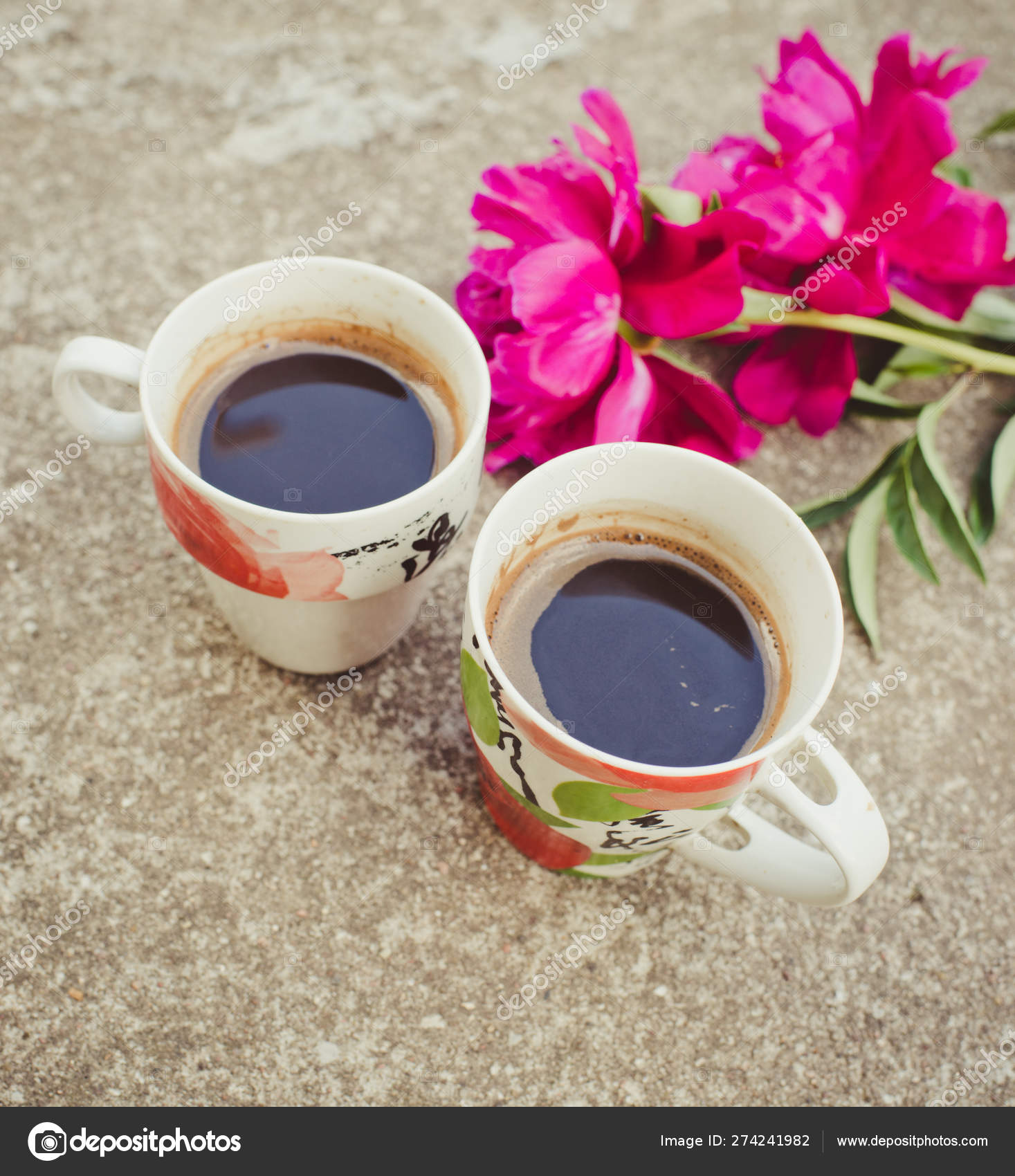 Beautiful Flowers Two Cups Coffee Close Stock Photo Image By C Bulatova 274241982