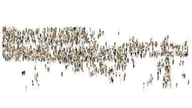 Crowd on white background. Large crowd of people. Cartoon humans on white background.