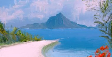 abstract creative tropical landscape oil picture