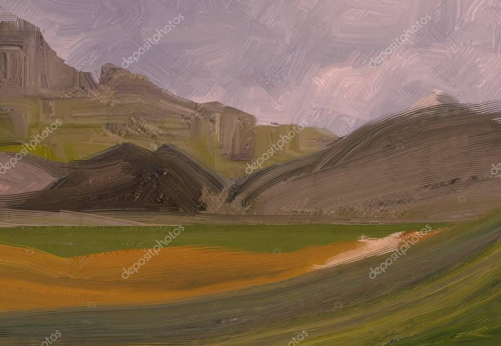 2d illustration. Oil painting landscape art. Rural mountain region. Colorful green field and grass. Summer time. Countryside.