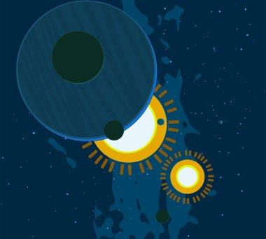 2d illustration. Cartoon space background picture. Deep vast space.Stars, planets and moons. Various science fiction creative backdrops. Space art. Alien solar systems.Planets and Moons.