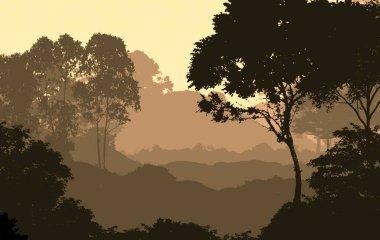 """Картина, постер, плакат, фотообои """"абстрактные силуэты гор, тумана и деревьев постеры печать санкт-петербурга"""", артикул 297476860"""