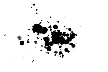2d illustration. Black ink splashes. Paint splatters on bright material.