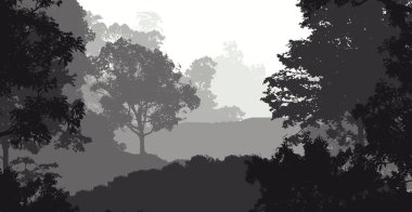 Abstract backdrop with misty hills with trees in fog and forest haze.