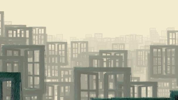 abstraktní záznam s okny jako pozadím