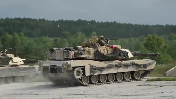 US Army war tanks during combat training