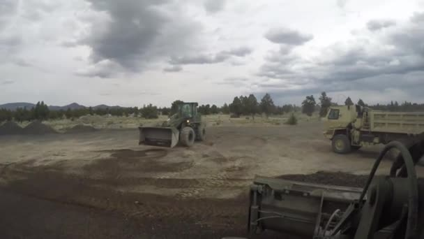 First person view of heavy equipment working in construction area