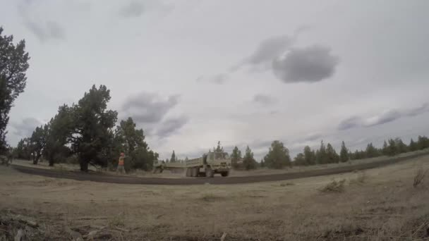 Timelapse of heavy equipment working on construction area