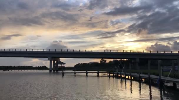 Timelapse of interstate bridge on the east coast at sunset