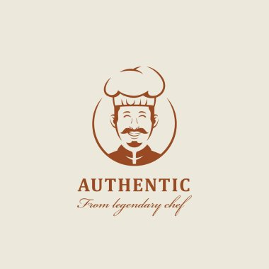 Legendary chef kitchen mascot with warm friendly smiles and mustache logo icon character cartoon in vintage style icon