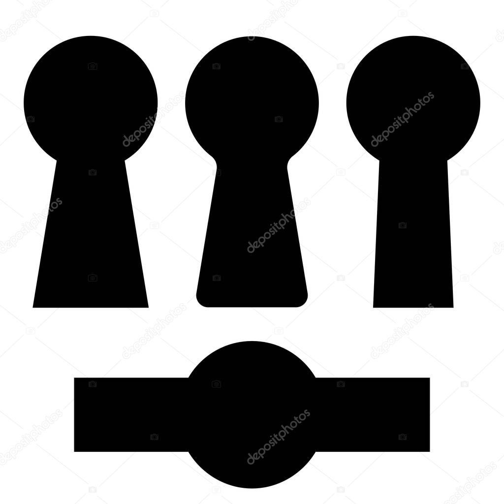 Set keyholes silhouette, icon. Vector design elements isolated on white background.