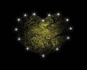 Fotografie Goldene abstrakte Vektor-Herz mit Licht. Liebe den Goldstaub mit einer Blendung. Design-Element auf dunklem Hintergrund isoliert