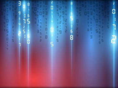 Digital futuristic background light effects in blue, red. Abstract modern technologies. Vector illustration.