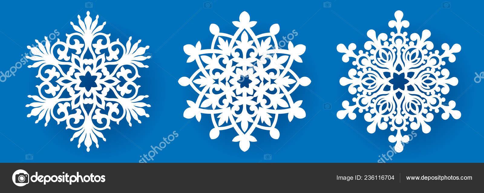 Christmas Cutout Patterns.Snowflakes Patterns Cutouts Vector Snowflake Laser Cut