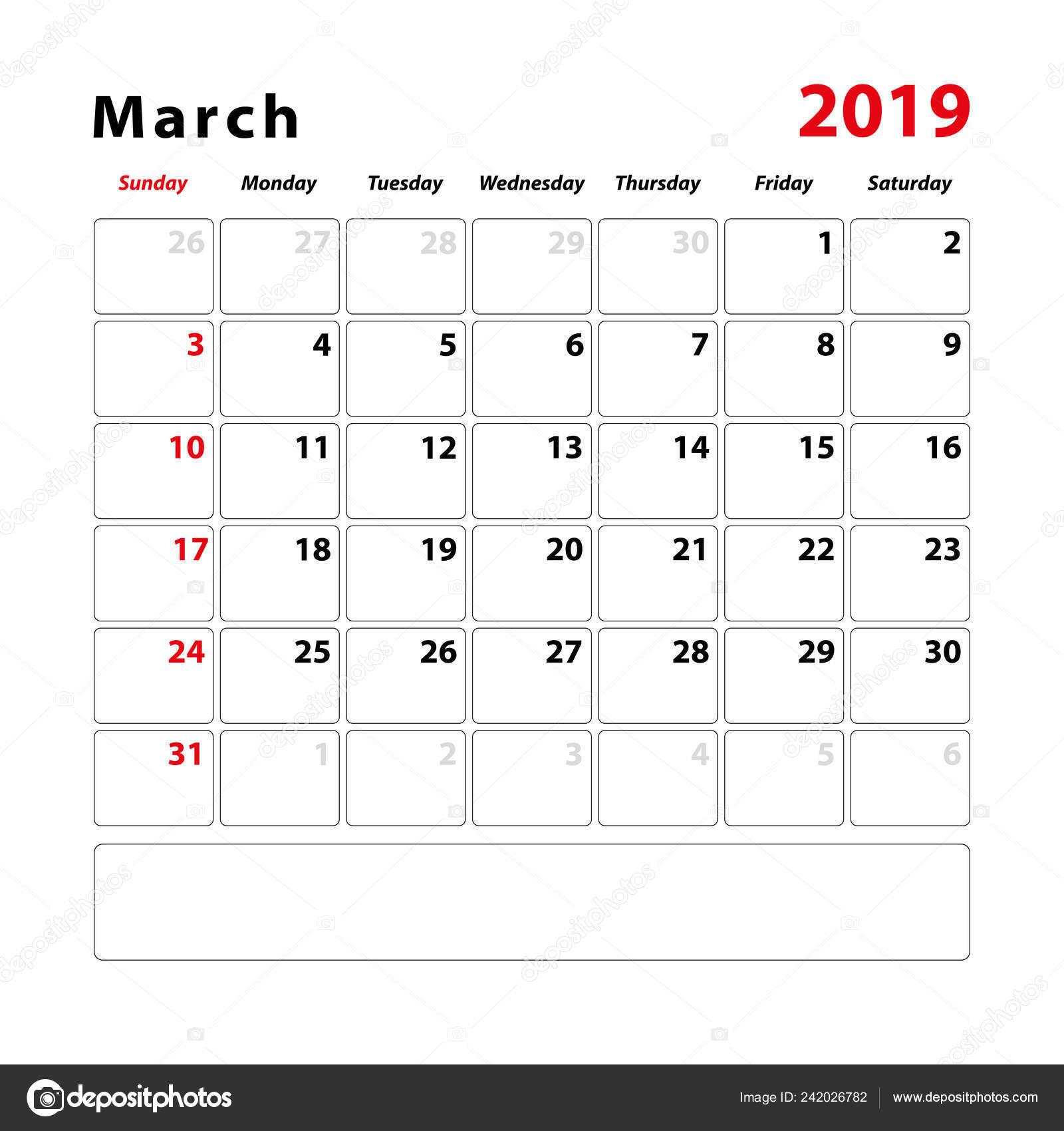 Calendar Sheet Month March 2019 Space Text Notes Vector