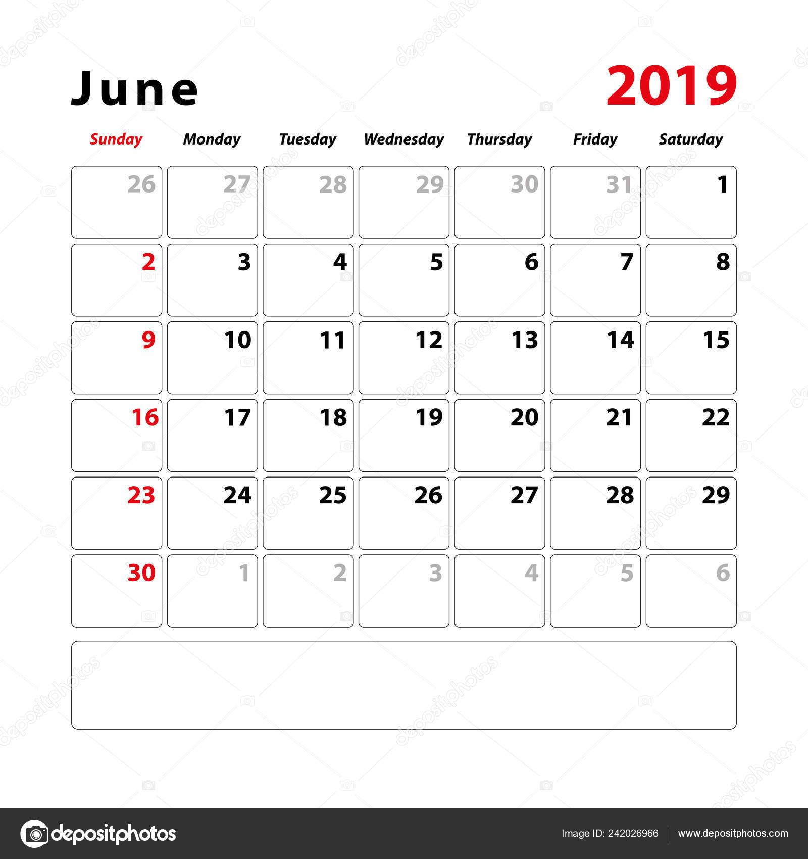 Calendario Mese Giugno.Foglio Del Calendario Mese Giugno 2019 Spazio Note Testo