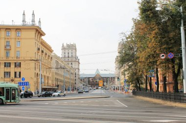 The capital of the Republic of Belarus is Minsk. Kirova street. View of the railway station.