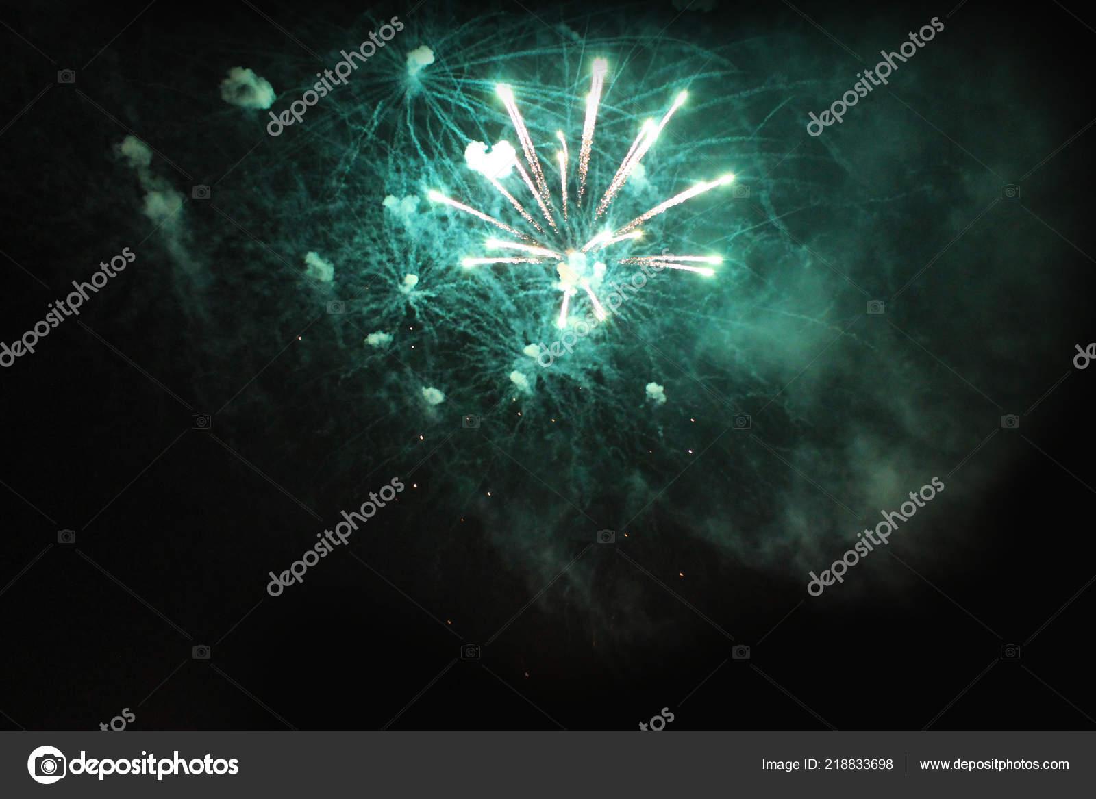 Fireworks Salute Sky Background Amazing Flash Green Blue