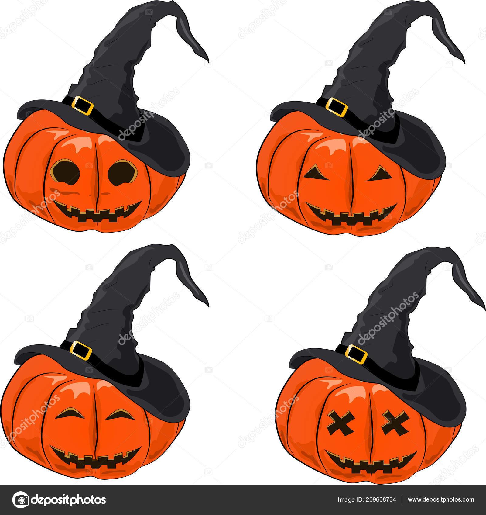 723345b4dd2a1 Conjunto Calabaza Para Halloween Con Sombrero Bruja Sobre Fondo Blanco —  Archivo Imágenes Vectoriales