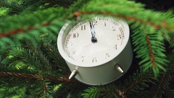 Vánoční stromek s analogově bílými budíky na větvi. Houpe se ve větru. Vánoce a Silvestr a koncepce oslavy