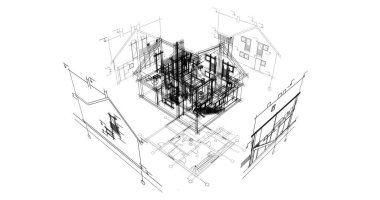 architectural drawings 3d illustration - Illustration