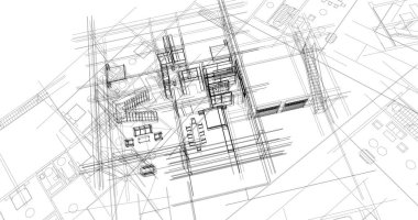 House building architectural drawing 3d illustration