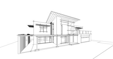 House concept sketch 3d illustration