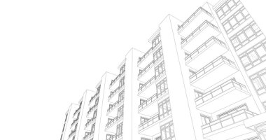 House concept sketch 3d illustration