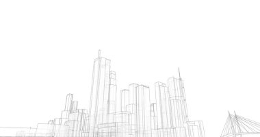 3d illustration of city architecture and buildings